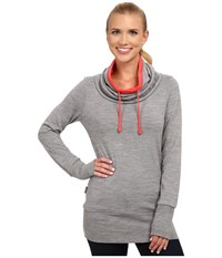 Icebreaker Boreal Long Sleeve Cowl Metro Heather Grapefruit Women's Long Sleeve Pullover Gray