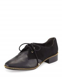 Adrianna Papell Paxton Leather Zip Trim Oxford Black