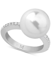 Majorica Marjorica Sterling Silver Imitation Pearl And Cubic Zirconia Statement Ring White