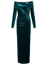 Jacques Vert Velvet Bardot Long Dress Green