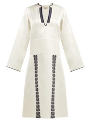 Zeus Dione Milos Embroidered Silk Noil Midi Dress Ivory Multi