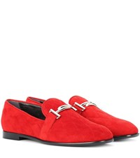 Tod's Double T Suede Loafers Red