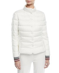Escada Fair Isle Snap Front Quilted Puffer Jacket Off White