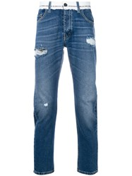 Frankie Morello Distressed Style Jeans Blue