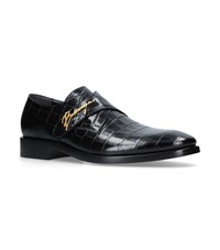 Balenciaga Logo Leather Monk Shoes Black