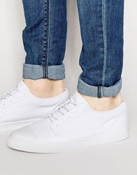 Asos Lace Up Plimsolls In White Canvas With Toe Cap White