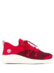 Timberland Knitted Lace Up Sneakers Red
