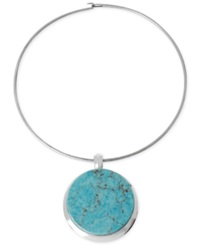 Robert Lee Morris Soho Silver Tone Semi Precious Turquoise Pendant Wire Necklace