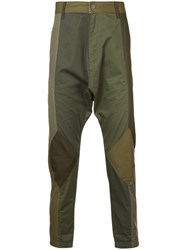 Mostly Heard Rarely Seen Twill Drop Crotch Pants Cotton Green