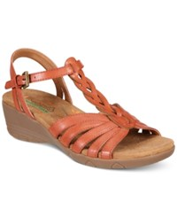 Bare Traps Honora Wedge Sandals Women's Shoes Red Rose