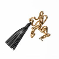 Bouchard Design Co. Leather Tassel And Vintage Brass Chain Necklace Black