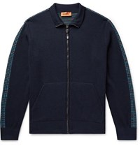Missoni Intarsia Trimmed Wool Blend Zip Up Sweater Navy