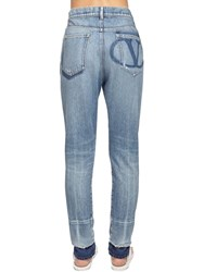 Valentino Back Go Logo Slim Fit Denim Jeans Light Denim
