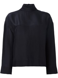 Cedric Charlier Loose Fit Turtleneck Blouse Blue