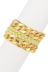 Vince Camuto Double Chain Woven Bracelet Green