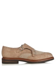 Brunello Cucinelli Monk Strap Suede Shoes Light Brown