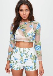 Missguided White Floral Mesh Embroidered High Waisted Shorts