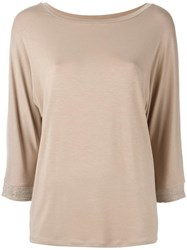 Steffen Schraut Beaded Sleeve Blouse Nude Neutrals