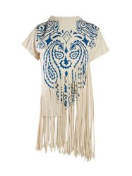 Loewe Fringed Silk Cotton T Shirt Blue Print