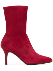 Stuart Weitzman Pointed Toe Boots Leather Rubber Calf Leather Red