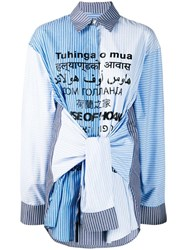 House Of Holland Sleeve Tie Striped Shirt Blue