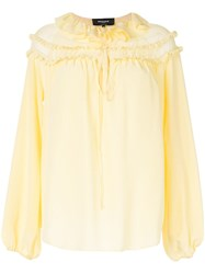 Rochas Ruffled Neck Blouse Yellow