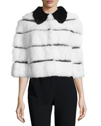Red Valentino Half Sleeve Rabbit Fur Jacket W Ribbon Insets White Black