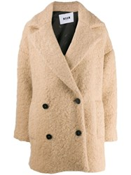 Msgm Oversized Double Breasted Coat Neutrals