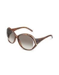 Roberto Cavalli Oroya Scrolled Metal Signature Round Frame Sunglasses Brown Gradient Brown