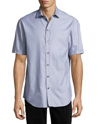 Armani Collezioni Neat Diamond Short Sleeve Sport Shirt Blue