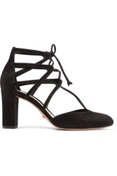 Schutz Arya Lace Up Suede Pumps Black
