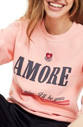 Topshop Embroidered Amore Sweatshirt Coral Multi