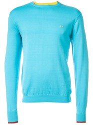 Sun 68 Cuff And Neck Trim Detail 'Giro' Jumper Blue