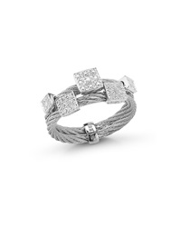 Alor Classique Cable Square Diamond Ring