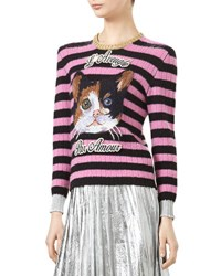 Gucci Cat Embroidered Knit Top Black Candy Rose