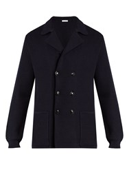 Tomas Maier Double Breasted Wool Knit Blazer Navy