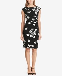 American Living Pleated Floral Print Sheath Dress Black White