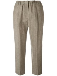 Brunello Cucinelli Pinstripe Cropped Trousers Brown