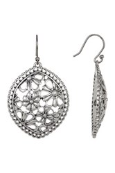 Lucky Brand Silver Tone Lace Openwork Earrings Gray