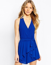 Wal G Halter Playsuit With Drape Front Elecblue