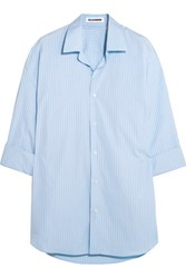 Jil Sander Oversized Striped Cotton Shirt Sky Blue