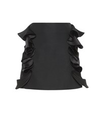 Victoria Beckham Ruffled Cotton Blend Miniskirt Black