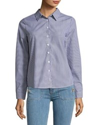 Design Lab Lord And Taylor Stripe Button Down Shirt Navy Multi