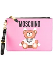 Moschino Toy Bear Paper Cut Out Clutch Pink Purple
