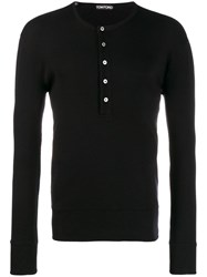 Tom Ford Ribbed Crew Neck Top Black