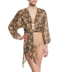 Michael Kors Python Print Tie Front Coverup Crop Top Butter