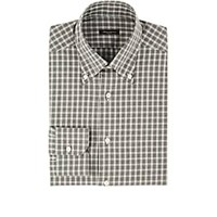 Sartorio Checked Cotton Button Down Shirt Gray