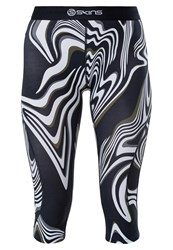 Skins Dnamic 3 4 Sports Trousers Living Lines Black