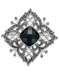 Genevieve And Grace Sterling Silver Onyx 10 3 4 Ct. T.W. And Marcasite Pin