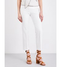 Max Mara Mid Rise Cropped Pure Cotton Trousers Ivory